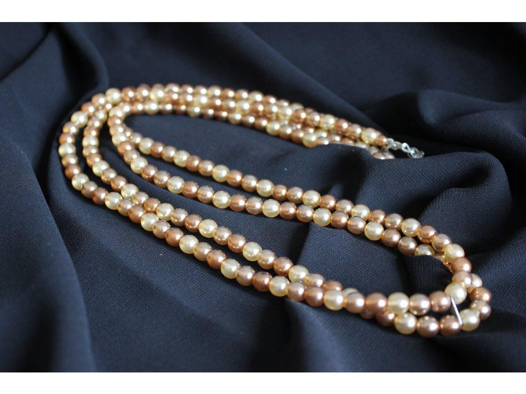 Vintage náhrdelník hnědé perly