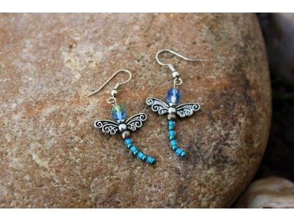Náušnice modré vážky