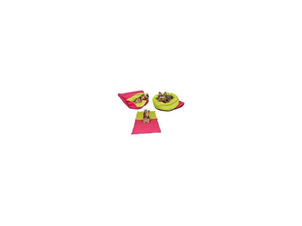 Spaci pytel pro psy XL tmave ruzovy svetle zelena 2703201715061815259
