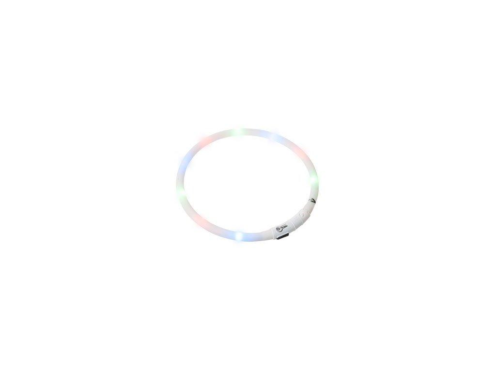 LED svetelny obojek bily obvod 20 75 cm sviti cca 500m daleko USB nabijeni 110820160900212621