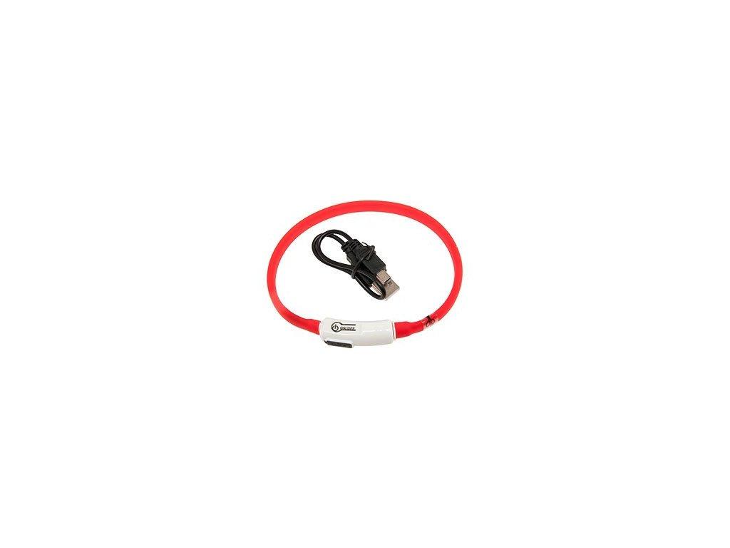 LED svetelny obojek pro kocky cerveny obvod 20 35 cm sviti cca 500m daleko USB nabijeni 1108201609225382880