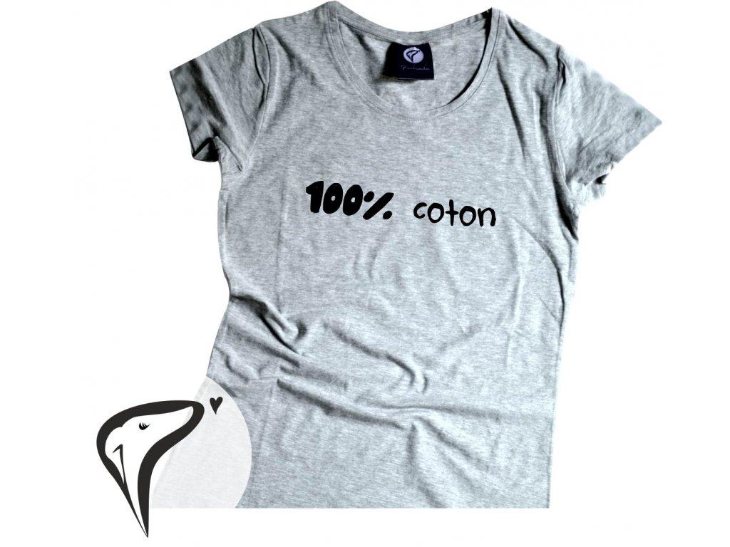 Dámské tričko, šedá - 100% coton