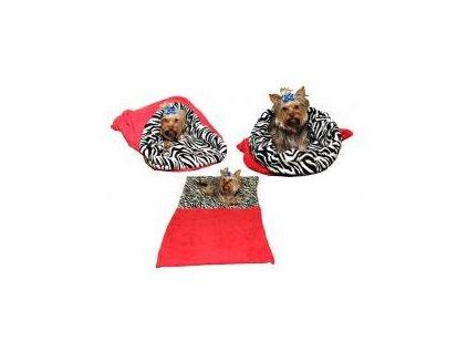 Spaci pytel pro psy XL cervena zebra 2703201714502732541