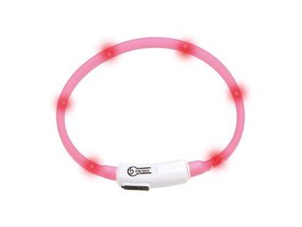 LED svetelny obojek pro kocky ruzovy obvod 20 35 cm sviti cca 500m daleko USB nabijeni 1108201609285511270