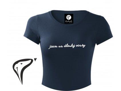 Dámské tričko, bílá/šedá/navy - Jsem na dlouhý ocasy