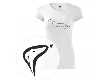 Dámské tričko, bílá/navy - jezevčík drsnosrstý