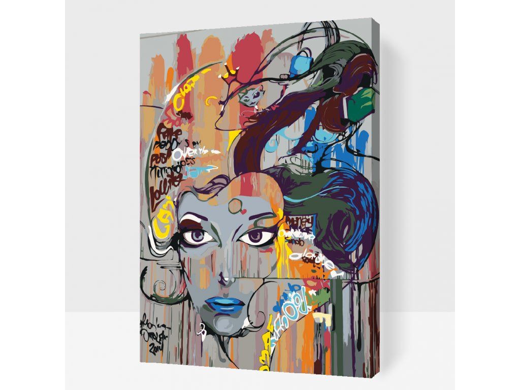 Paint by number - Beautiful blue lips (Frame With Frame, Size 40x60cm (16'' x 24''))