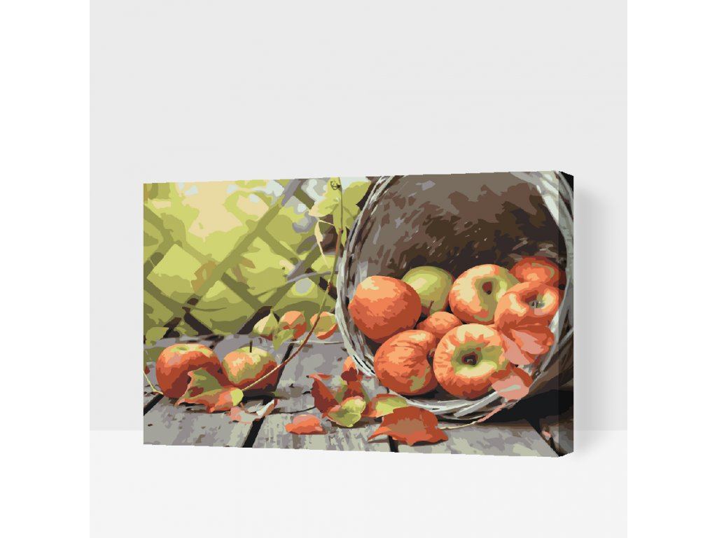 Paint by Number - Apples in a Basket (Frame Without Frame (canvas only), Size 40x60cm (16'' x 24''))