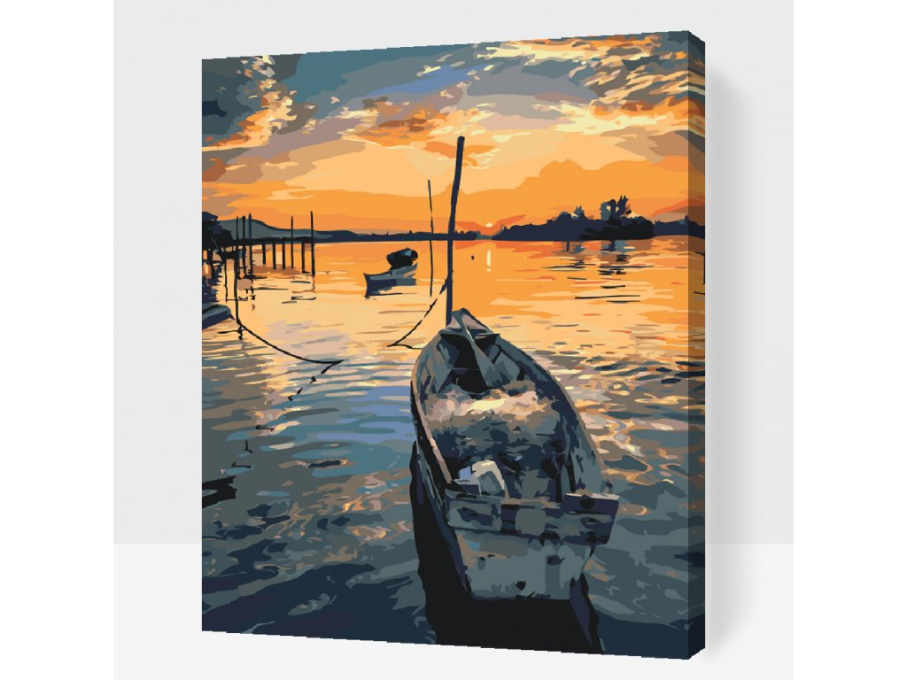 Paint by Number - Fishing Boat at Sunset (Frame Without Frame (canvas only), Size 40x50cm (16'' x 20''))