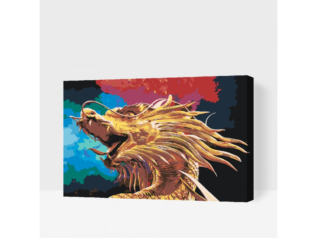 Paint by number - Golden Dragon (Frame Without Frame (canvas only), Size 40x60cm (16'' x 24''))