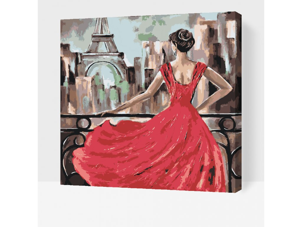 Paint by number - Lady in Red (Frame Without Frame (canvas only), Size 50x50cm (20'' x 20''))
