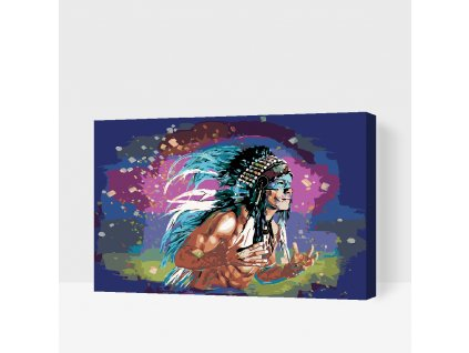 Paint by number - Colored Indian (Frame Without Frame (canvas only), Size 40x60cm (16'' x 24''))