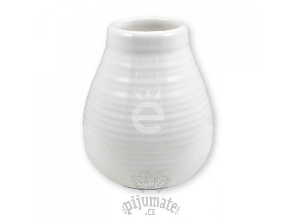 Kalabasa keramická bílá vroubkovaná / P-KA-20-WHITE