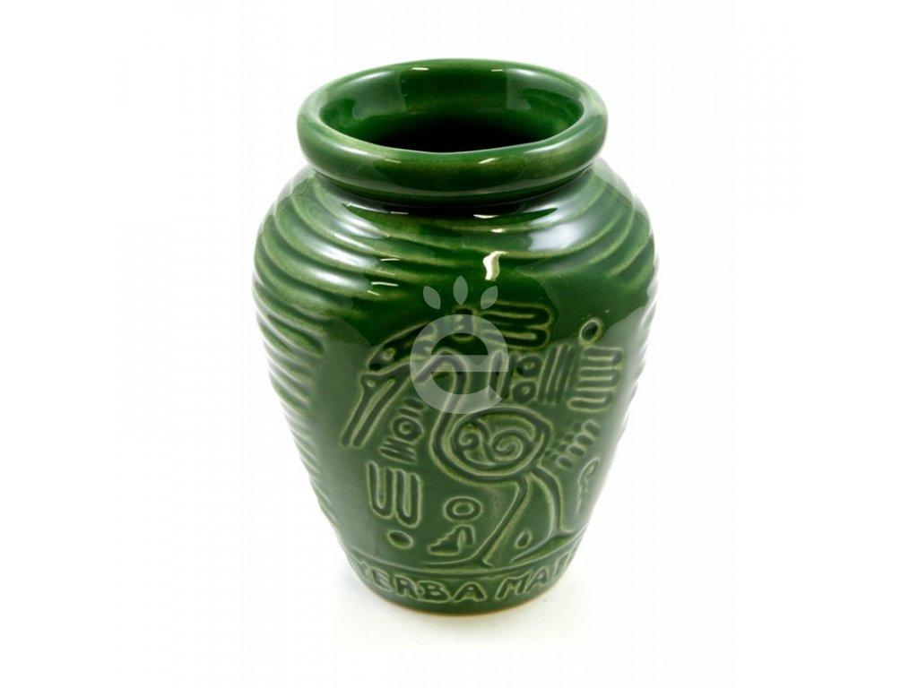 Kalabasa keramická zelená s motivem / KA-34