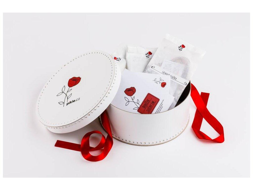Sada menstruace krabice otevrena prehled sacky