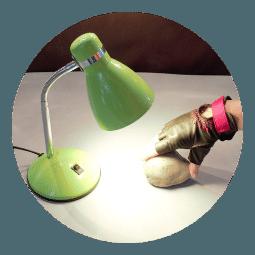 Zelená lampička kovová