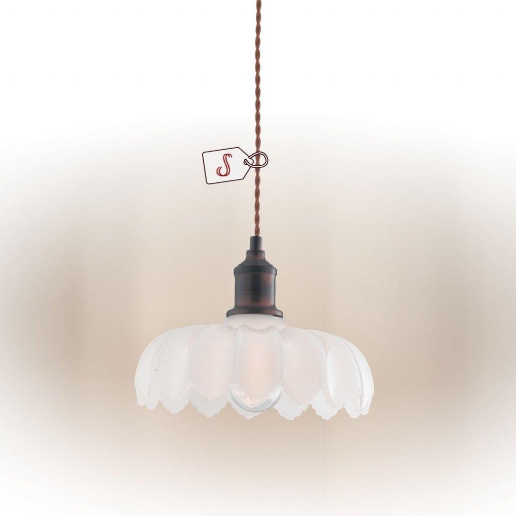 Závěsné světlo vintage sklo hnědý kov dagmar obchod svítidla pikomal