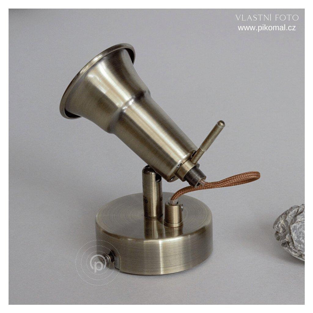 bodovka anticka mosaz GU10 s vypinacem obchod svitidla pikomal dagmar touskova searchlight