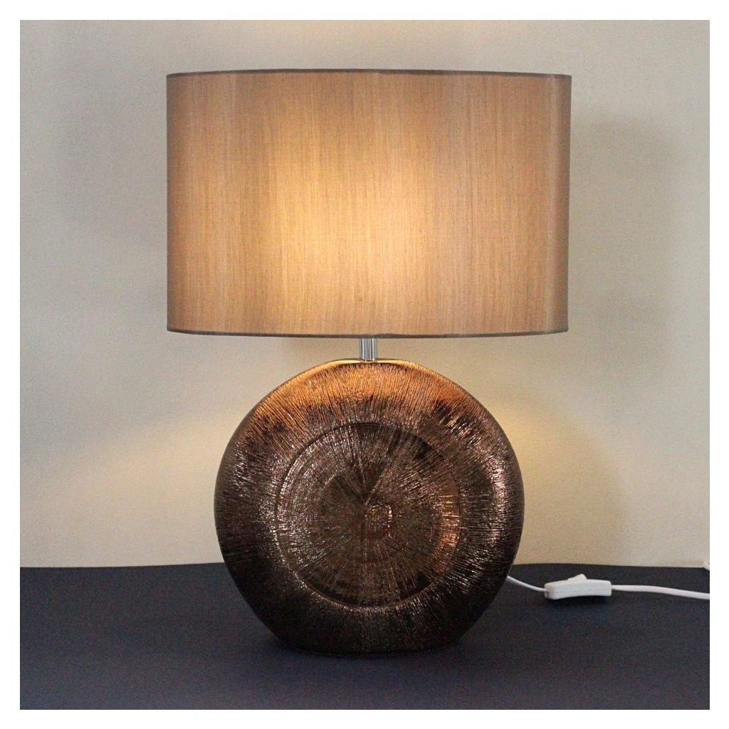 Stolní lampa hnědá keramika hnědé stínidlo obchod svitidla pikomal