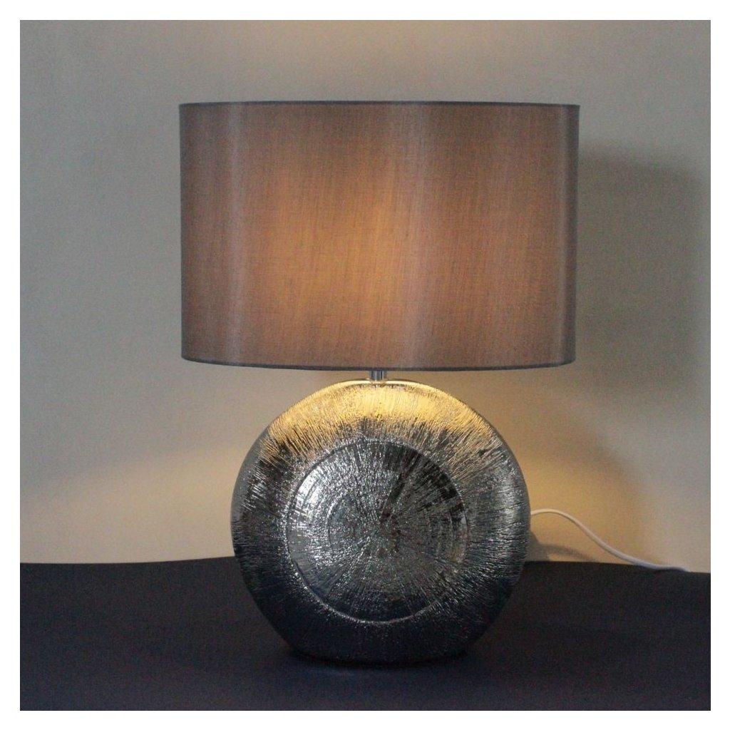 stolní lampa keramická stříbrná stříbrný šedý klobouk obchod svitidla pikomal rozsvícená