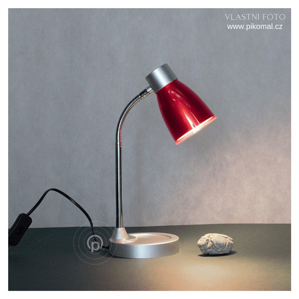 červená stolní lampička na psací stůl obchod svitidla pikomal dagmar touskova rozsvicena