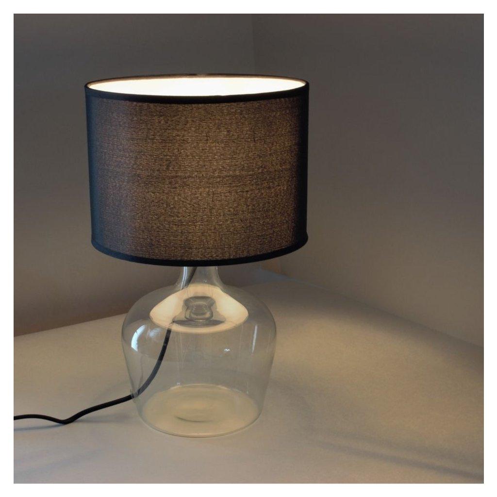 I HENDRIX NERO černá stolní lampa sklo a črné stínidlo obchod svitidla pikomal