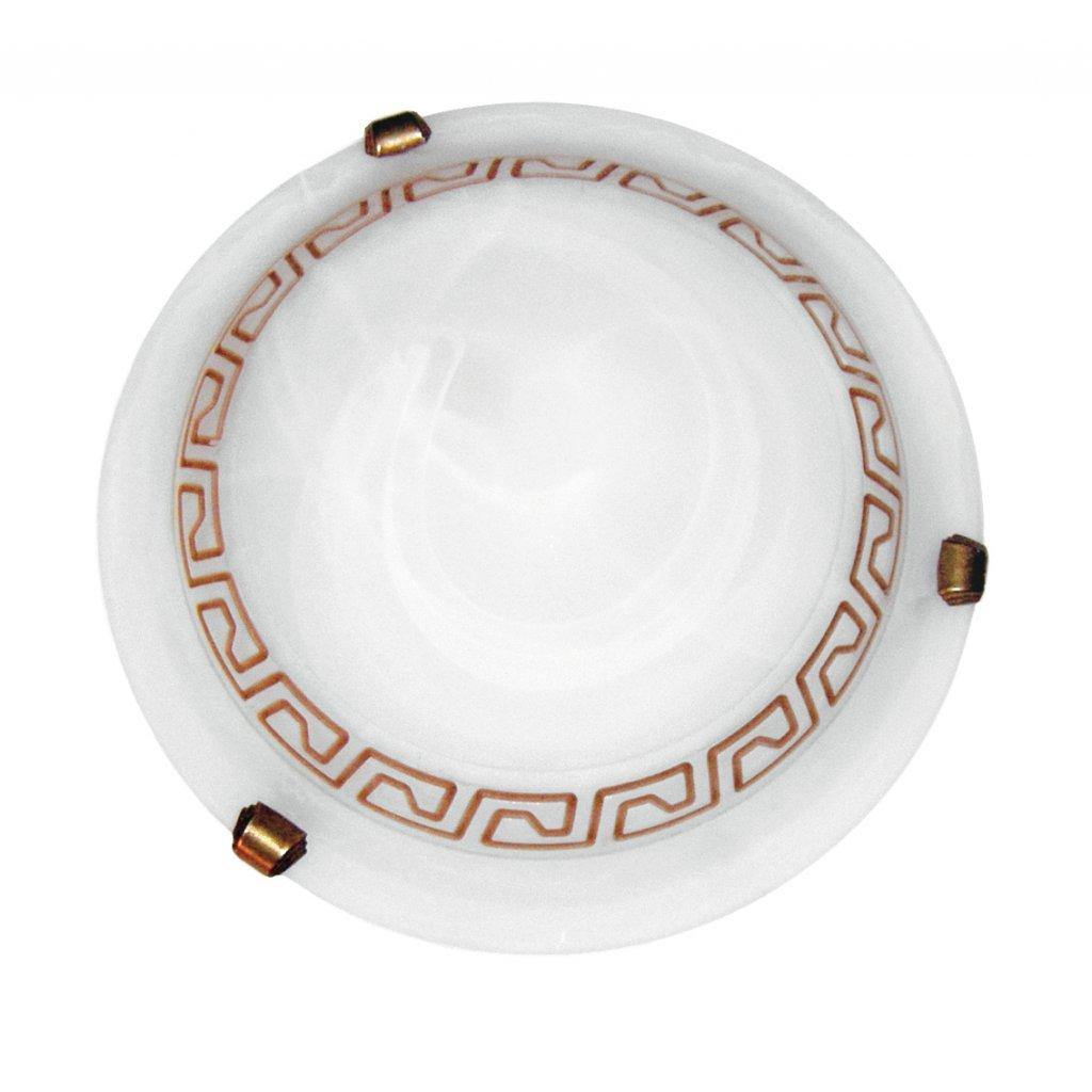 248/00112 POLONIA stropní svítidlo 1xE27 bílé sklo s antickým dekorem a hnědá barva
