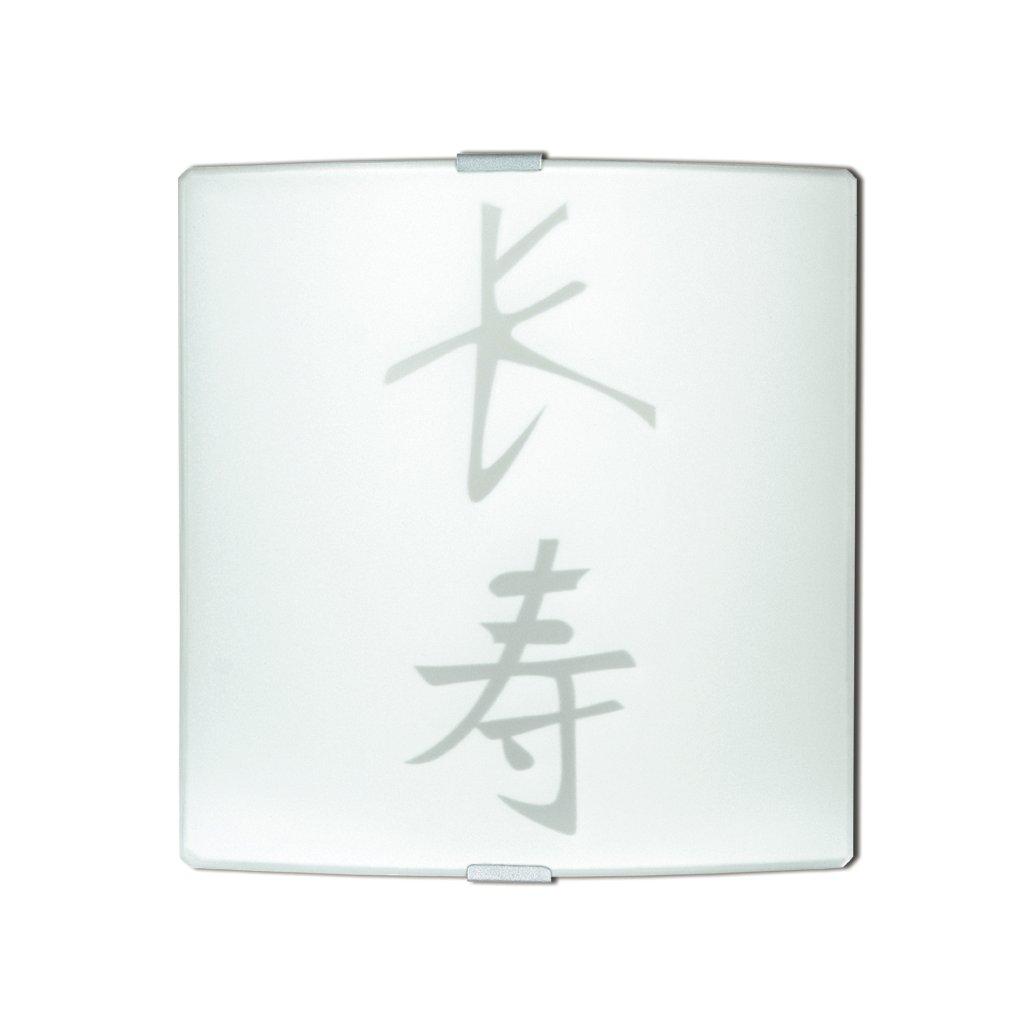 112/00112 APPLIQUE přisazené na stěnu 1xE27 bílé sklo s dekorem kaligrafického znaku (M2)