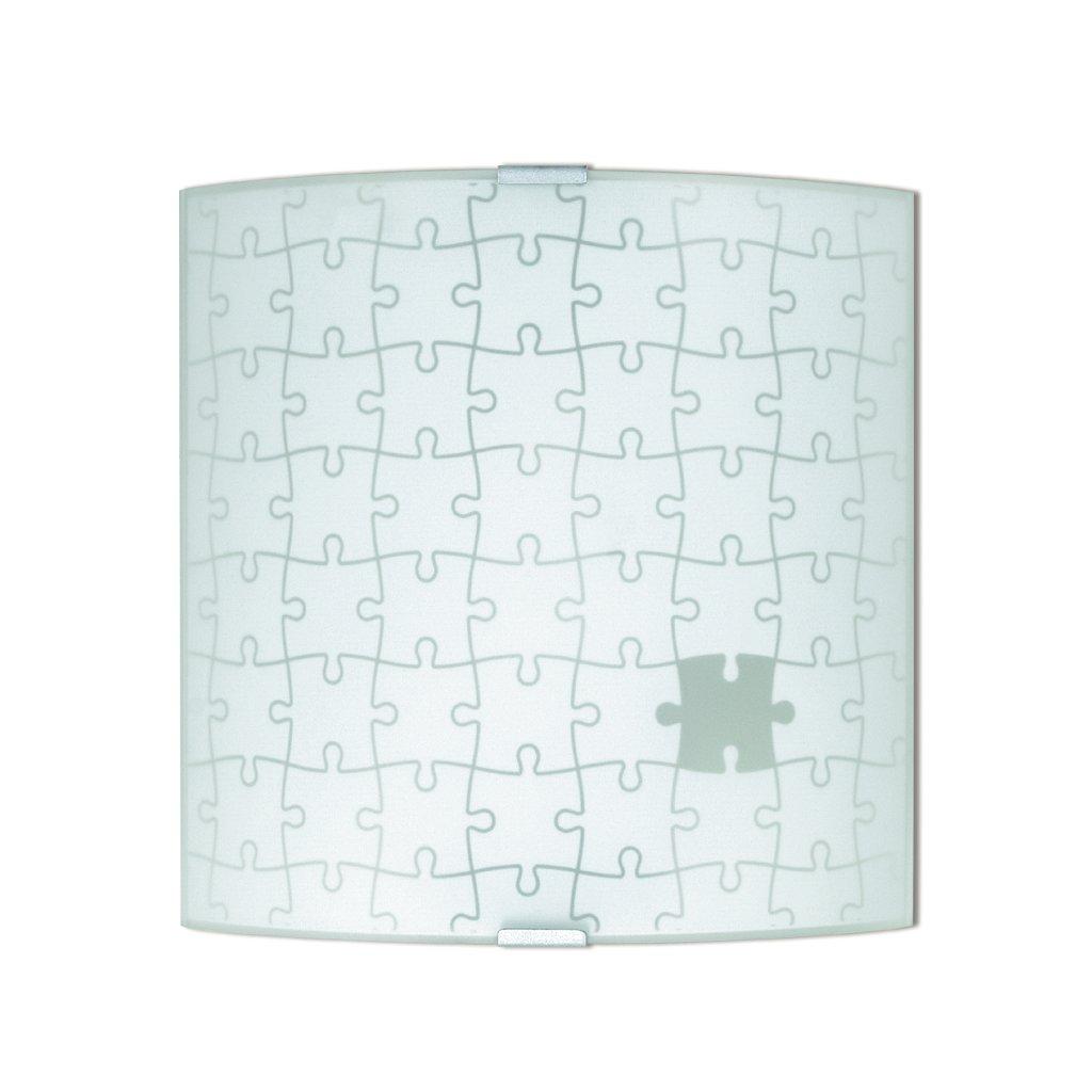 61/00601 APPLIQUE přisazené na stěnu 1xE27 bílé sklo s dekorem puzzle