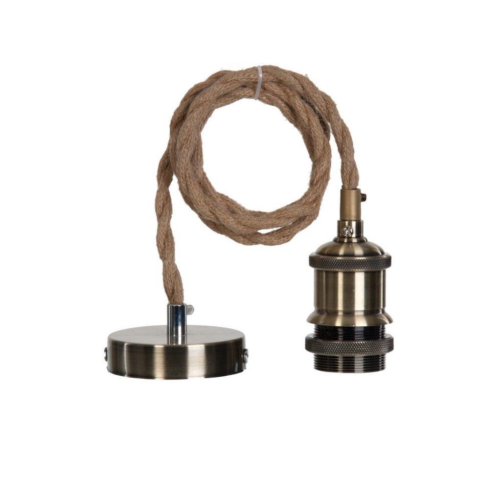15671 MILENA závěsný díl na stínidlo antická mosaz a béžový opletený kabel (N1)