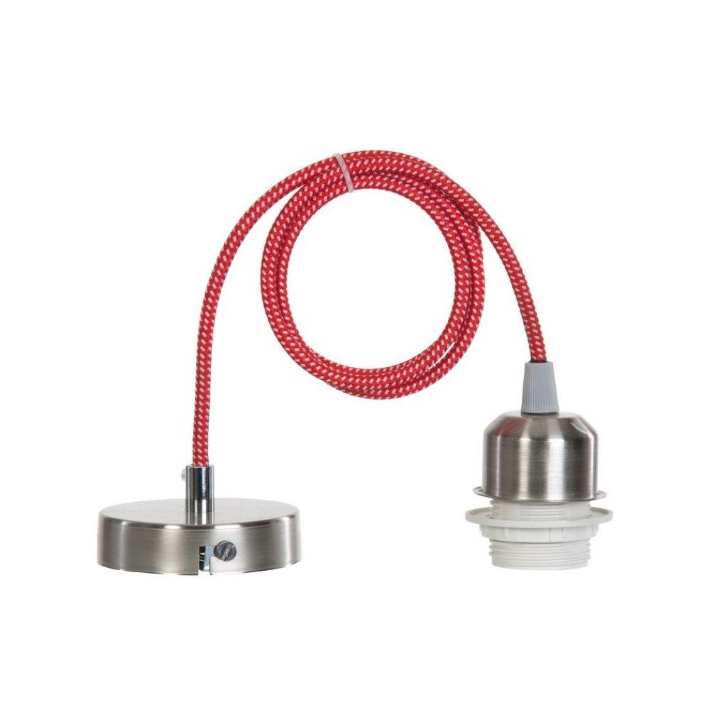 15665 MILENA závěsný díl na stínidlo nikl mat a červeno bílý kabel (N1)