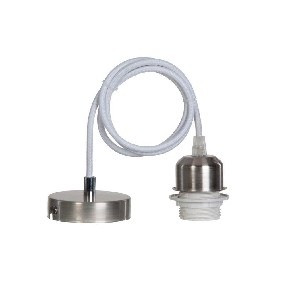15666 MILENA závěsný díl na stínidlo mat chrom a bílý kabel (N1)