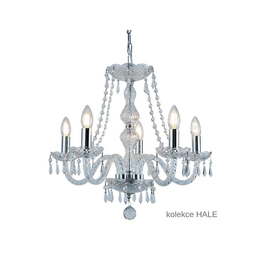 215 5 HALE svítidlo lustr 5xE14 lesklý chrom a sklo www pikomal cz