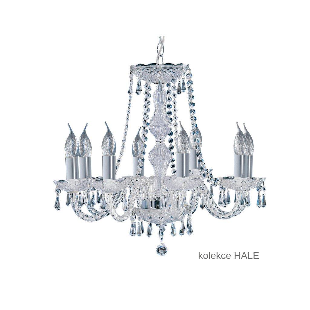 218 8 HALE svítidlo lustr 8xE14 lesklý chrom a sklo www pikomal cz