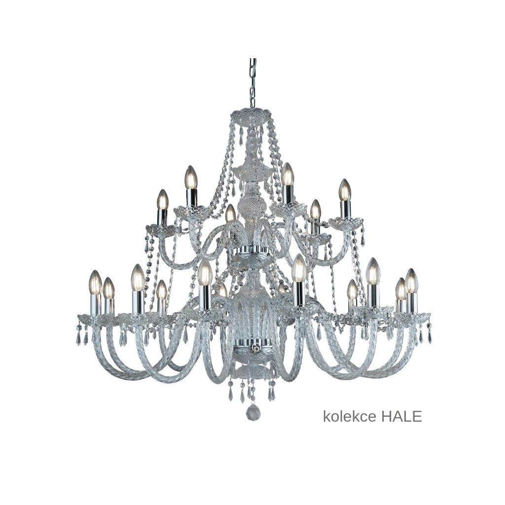 17218 8 HALE svítidlo lustr 18xE14 lesklý chrom a sklo www pikomal cz