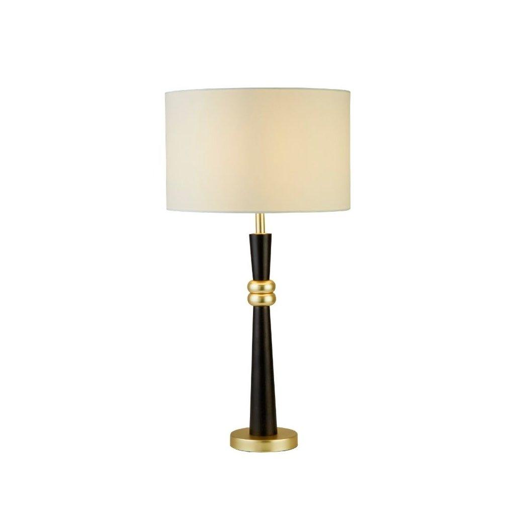 EU1741GO stolní lampa dřevo a zlatá textilní stínidlo obchod svitidla pikomal searchlight