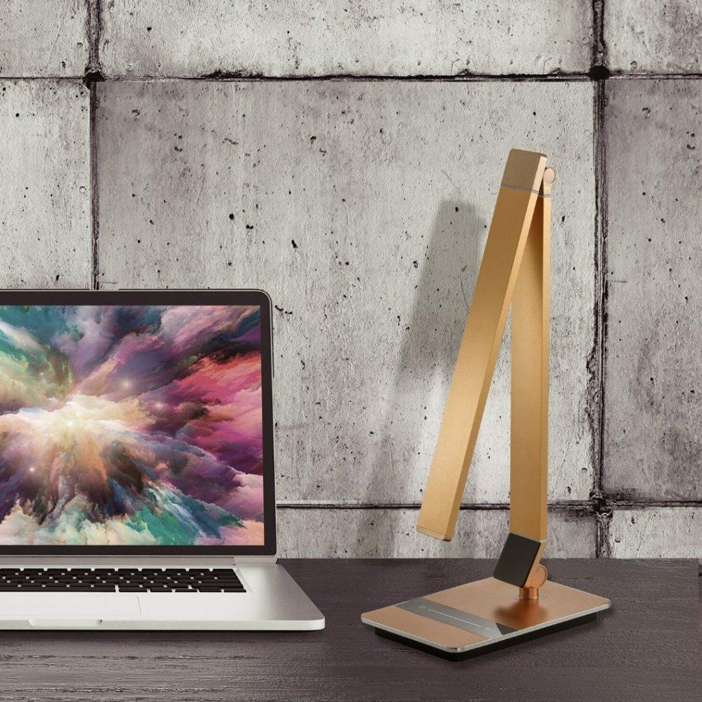 Stolní lampa na psací stůl pracovní LED obchod svitidla pikomal bronzová stmívací studené a teplé světlo
