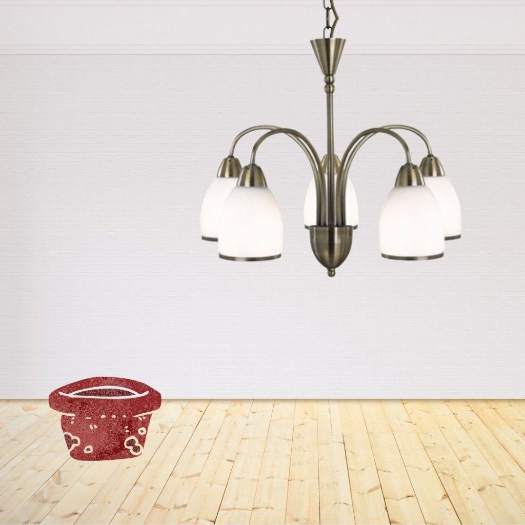 závěsné kovové svítidlo s bílým sklem rustikální klasika obchod svitidla pikomal jpg