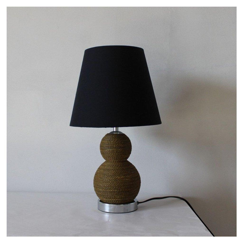 Stolní lampa 3412BR přírodní hnědá barva lano černé stínidlo obchod svitidla pikomal