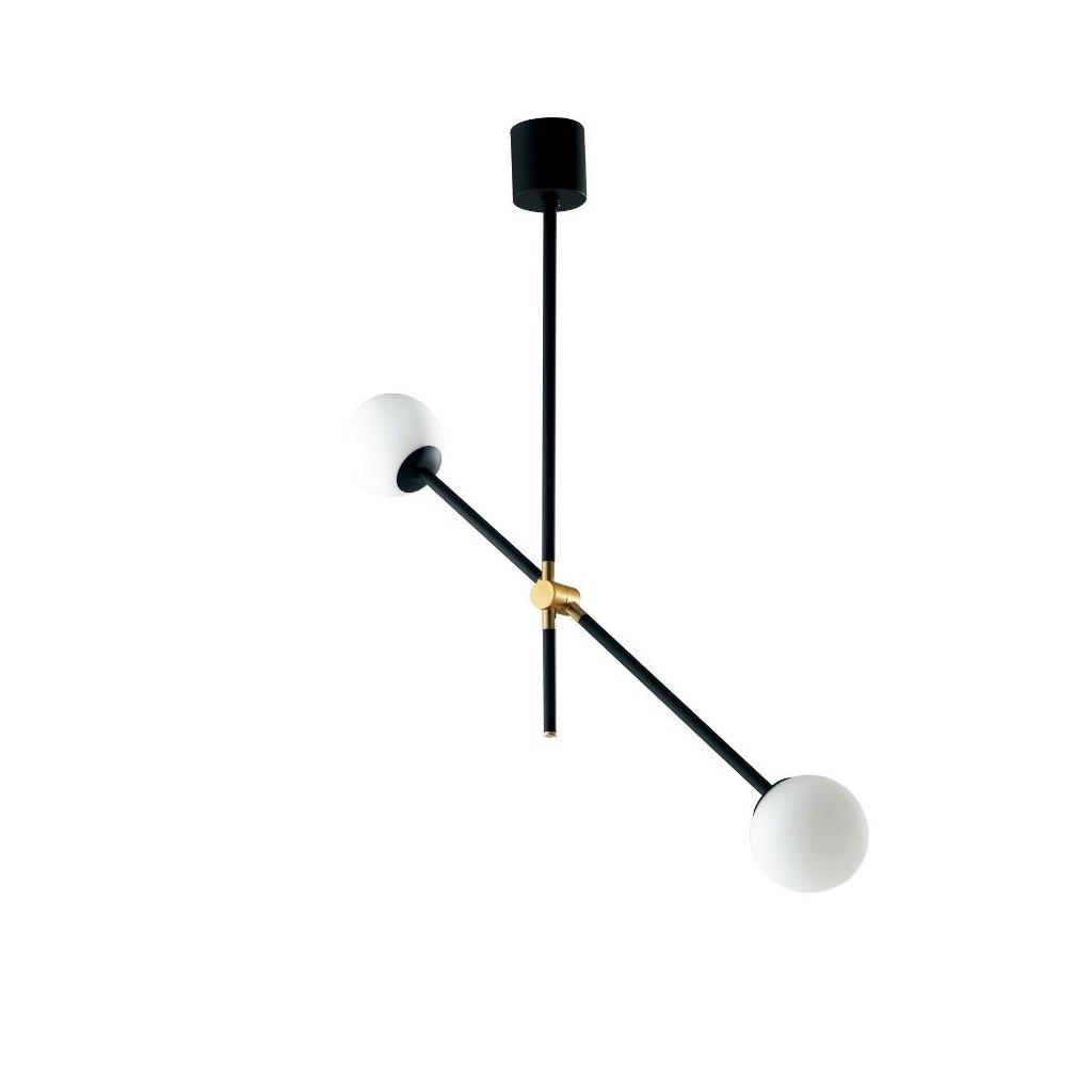I ANTITESI S2 přisazené černé svítidlo rameno se zlatou a bílé kuličky obchod svitidla pikomal