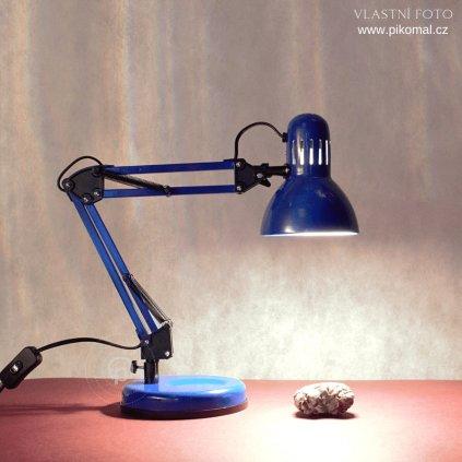 Stolní pracovní lampa v modré barvě kovová na E27 žárovku a vypínačem na kabelu dagmar touskova obchod svitidla pikomal