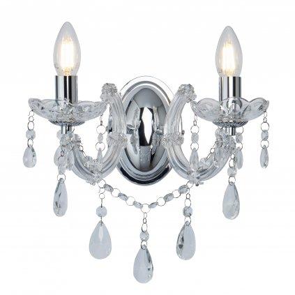 399-2 MARIE THERESE přisazené svítidlo s křišťálem 2xE14 lesklý chrom