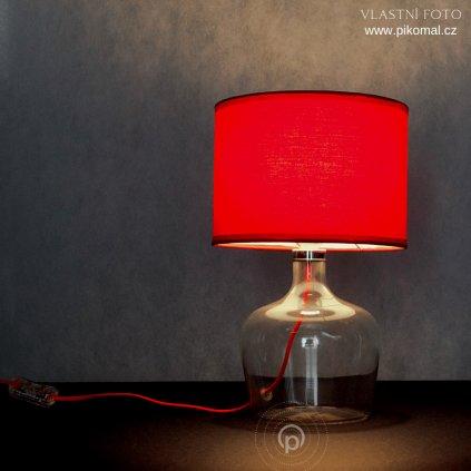 červená stolní lampa sklo a textilní stínidlo červený kabel obchod svitidla pikomal dagmar touskova