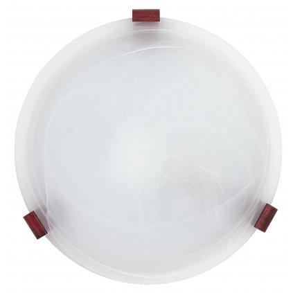 32/12012 LENTE stropní svítidlo 1xE27 bílé sklo s dřevěným uchycením
