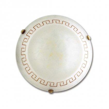 01/00912 TRECENTO stropní svítidlo 2xE27 mramorované sklo s antickým dekorem a antická mosaz