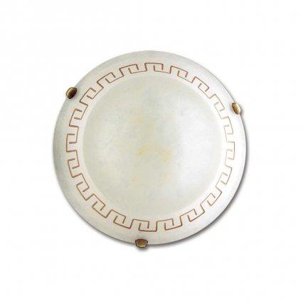 01/01012 TRECENTO stropní svítidlo 1xE27 mramorované sklo s antickým dekorem a antická mosaz