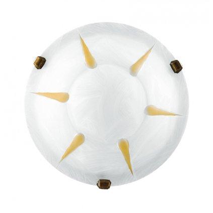 38/02512 stropní svítidlo 1xE27 bílé sklo s ambr dekorem a antická mosaz