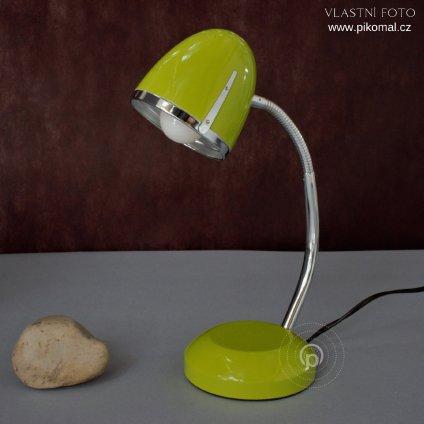lampička zelená na stůl pracovní E27 chrom s vypínačem na kabelu obchod svitidla pikomal dagmar touskova senemty