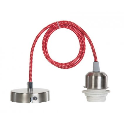 15665 MILENA závěsný díl na stínidlo nikl mat a červeno bílý kabel