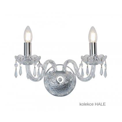 212 2 HALE svítidlo na stěnu 2xE14 lesklý chrom a sklo www pikomal cz